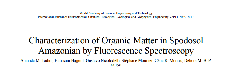 Characterization of Organic Matter in Spodosol Amazonian by Fluorescence Spectroscopy